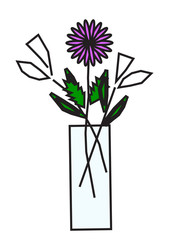vector illustration of flowers in vase