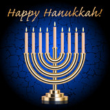 "Vector ""Happy Hanukkah!"" blue wish card with Hanukkah Menorah"