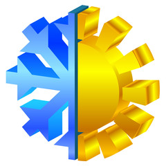 Vector illustration of sun & snowflake icon