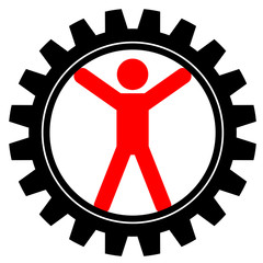 Vector icon of man in cog-wheel