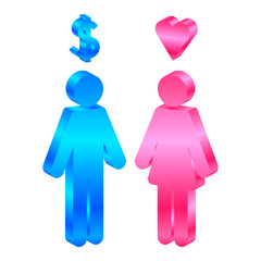 Interests - vector icon of man and woman