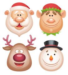 Christmas characters set - Santa, Elf, Deer, Snowman.