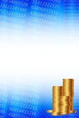 Vector background with statistical data and gold coins