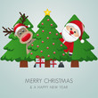 reindeer santa claus christmas tree gift box