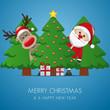 santa claus and reindeer behind christmas tree