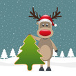 reindeer hold christmas tree