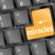 Computer keyboard with miracles text