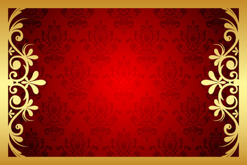 Vector gold and red floral frame