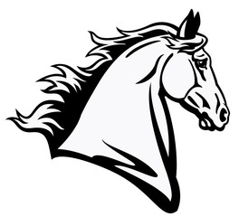 horse head black white profile