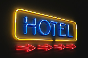Neon hotel sign