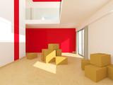 Leere Wohnung mit Umzugskatons und roter Farbspiegel 3D