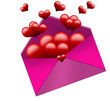 hearts flying from envelope on white background