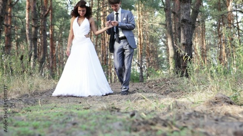 Married couple in pine forest