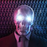 Euro Bad banker Konzept Skull 3D poster