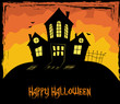 Colorful Halloween theme with a scary house