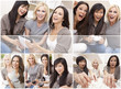 Montage Three Beautiful Women Friends at Home Together