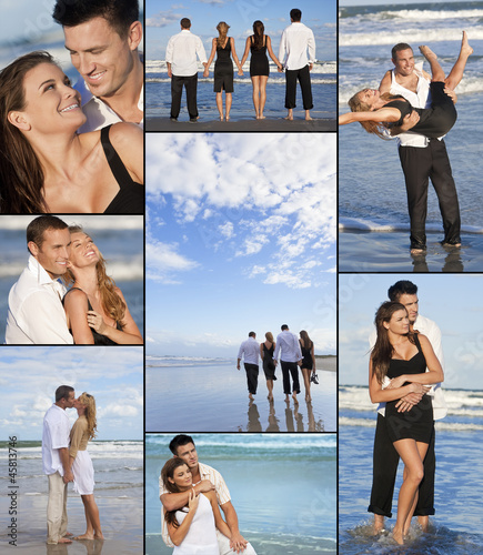Four People Two Couples on a Deserted Beach Montage