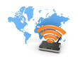 Router against map of the world.