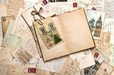 old postcards. vintage travel background poster