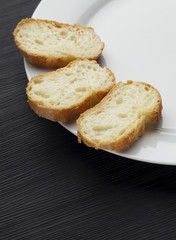 White dish and bread