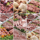 composition of various meats collage