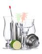 Cocktail shaker, glasses, utensils and lime