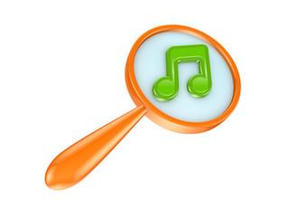 Orange loupe and green music icon.