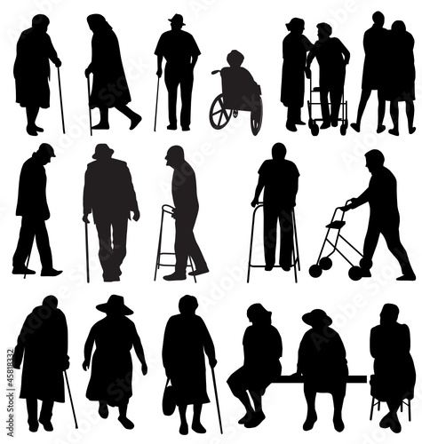 elderly silhouettes