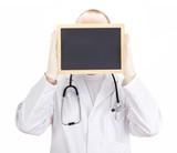 Doctor shows information on blackboard