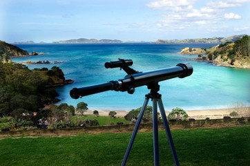 Telescope pointing at the sea
