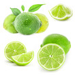 Fresh limes and slice, Isolated on white background