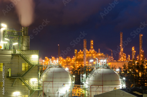 Petrochemical plant,spheres tank at  twilight