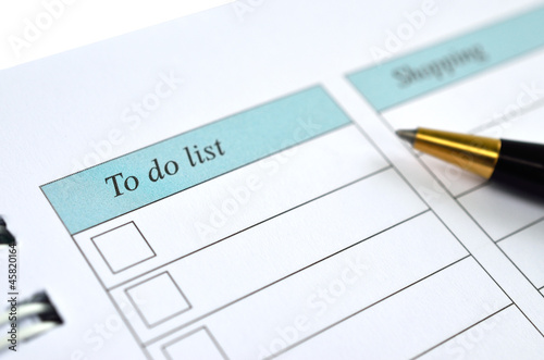 To do list notebook with pen