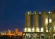 silo petrochemical plant at  twilight