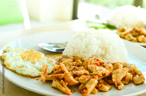 rice and curry with fried egg