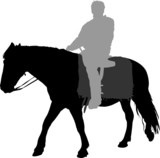 Vector silhouette of horse and man