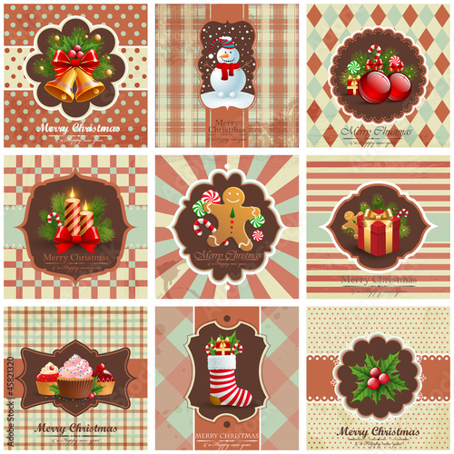 Set of christmas vintage backgrounds.