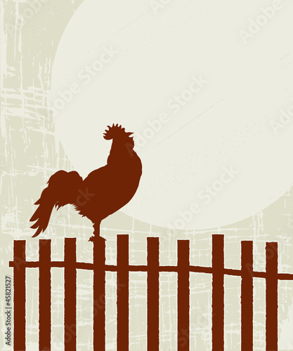 Retro rooster card