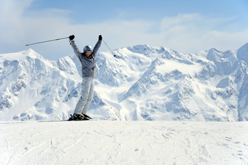joyful female skier