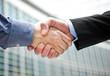 Outdoor, businessmen handshake