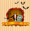 Brainless zombie. Halloween theme