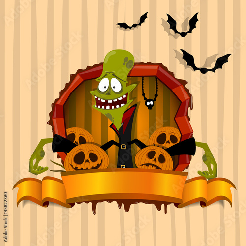The green zombie on the Halloween theme