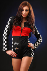 girl in a racing suit