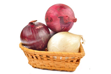 White and red onion on a white background