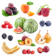 Collection of fruits isolated on white background, closeup