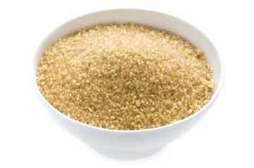 demerara sugar in a bowl isolated