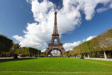 Eiffel Tower  with park in  Paris, France