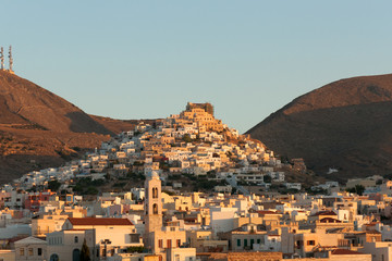 Syros - View of Ermoupoli at sunrise - Cyclades