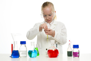 Girl scientist doing experiments