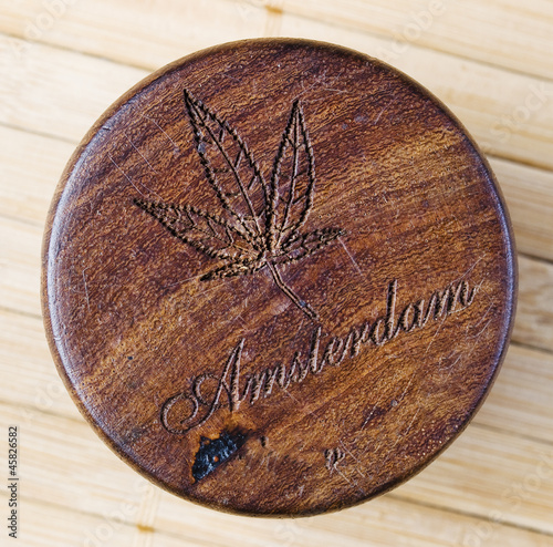 Marijuana symbol woodcarving